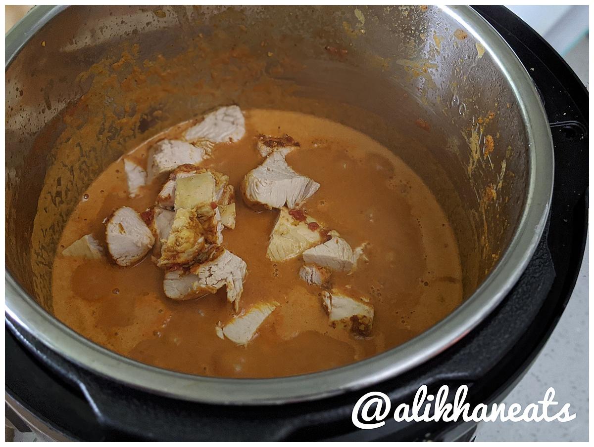 Butter Chicken recipe adding chicken to sauce