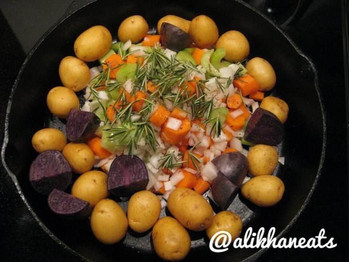 mirepoix and potatoes