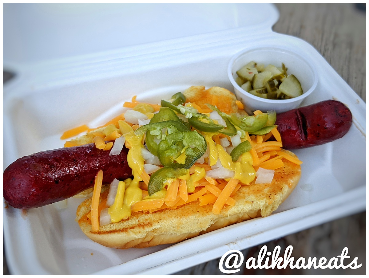 Hot Dog with jalapeno, cheddar and onion