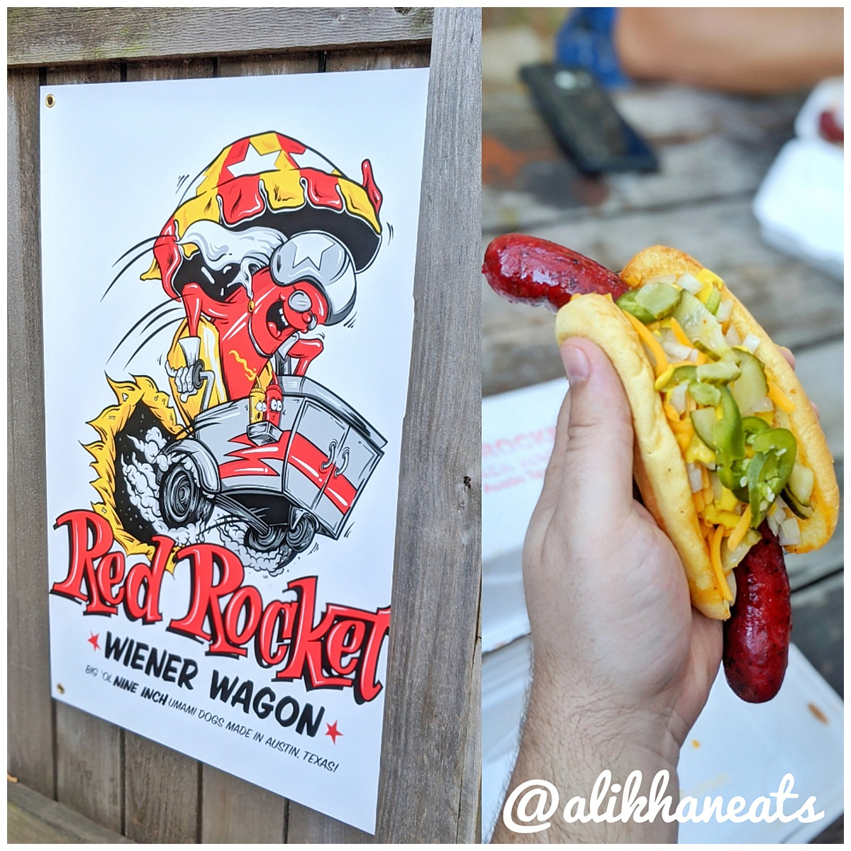 Red Rocket dogs sign + dog