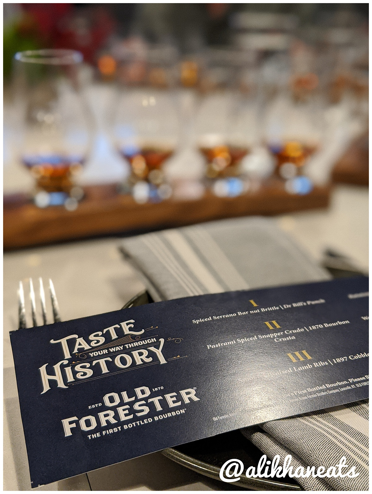 Old Forester tasting menu with bourbon pairings for the evening