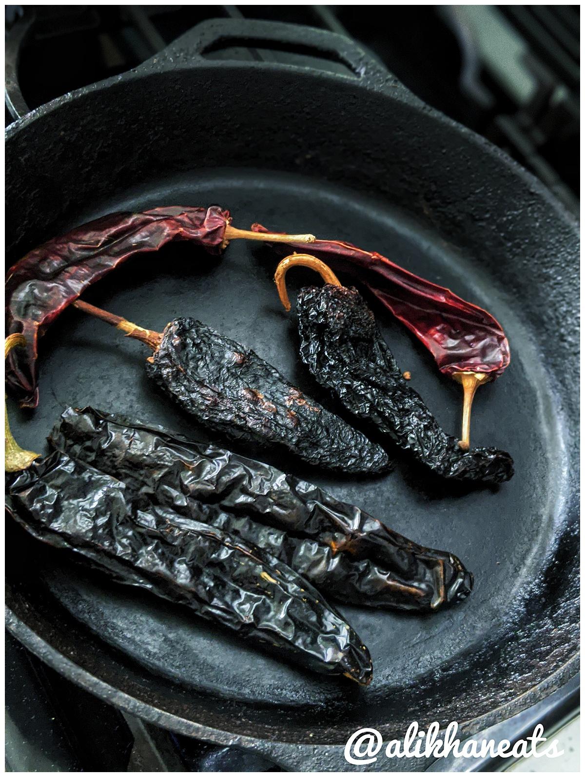 Texas Chili recipe toasting chiles 2