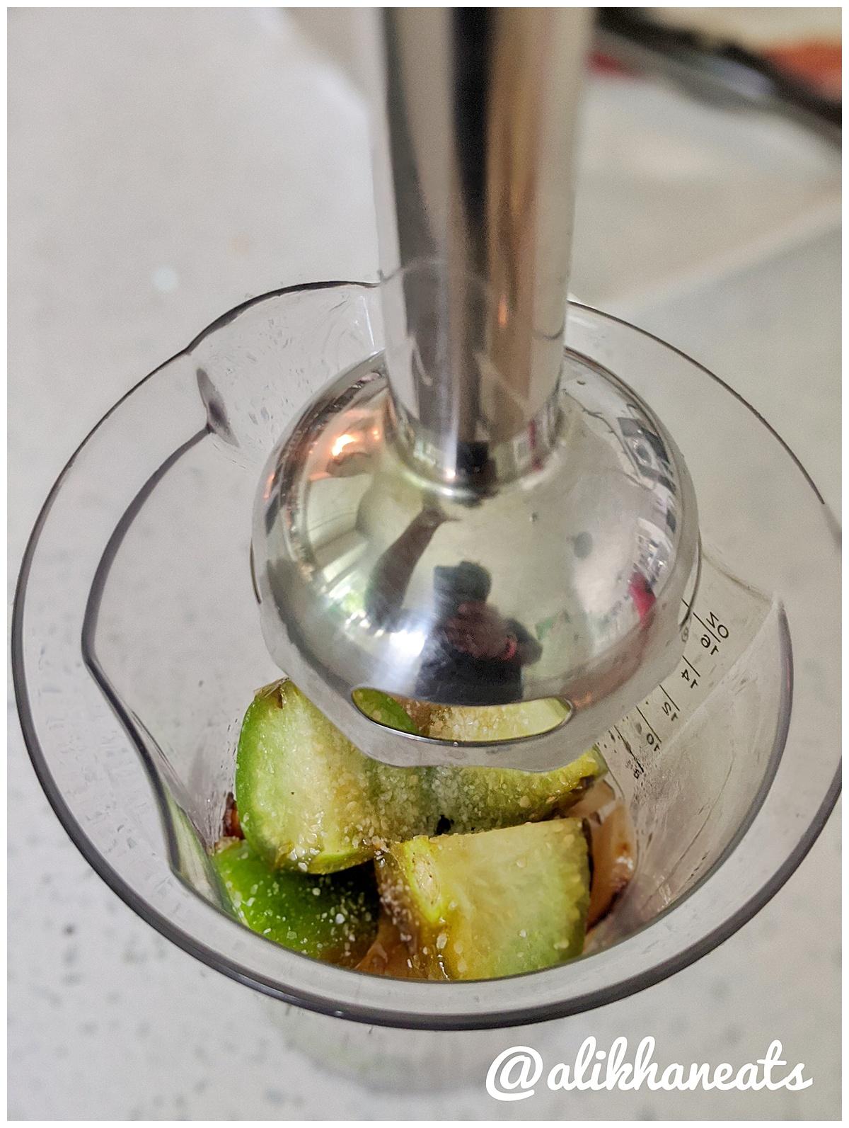breakfast salsa in immersion blender