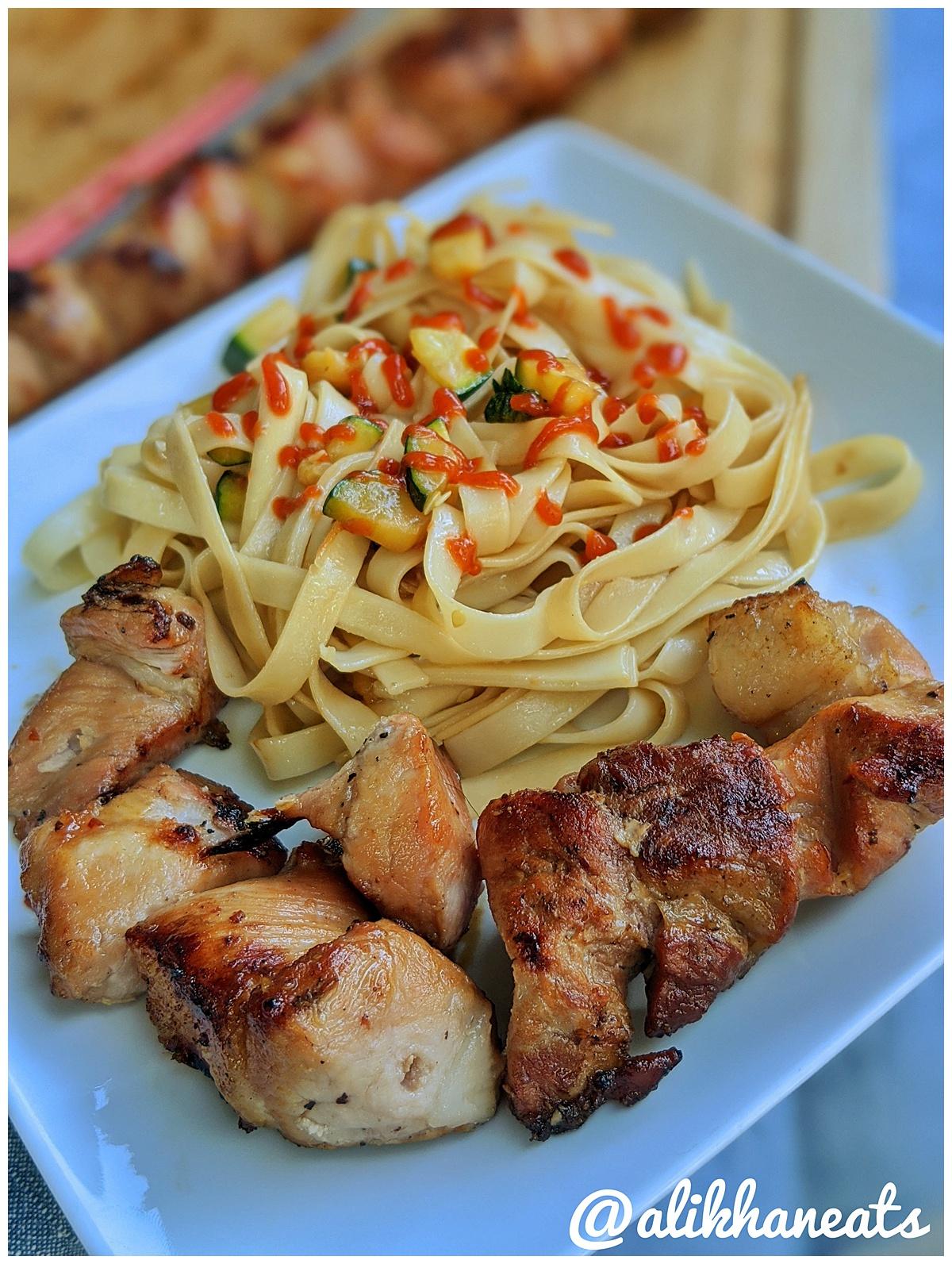 Vietnamese Pork Kabob recipe kabob and noodles plate