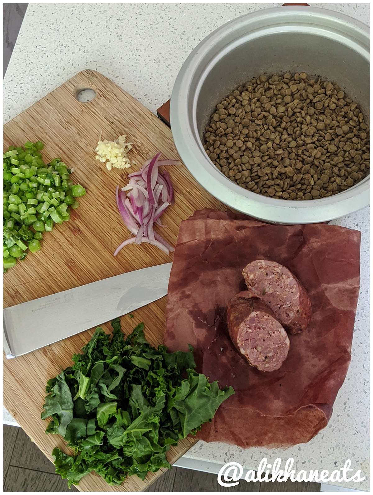 Warm lentil salad ingredients