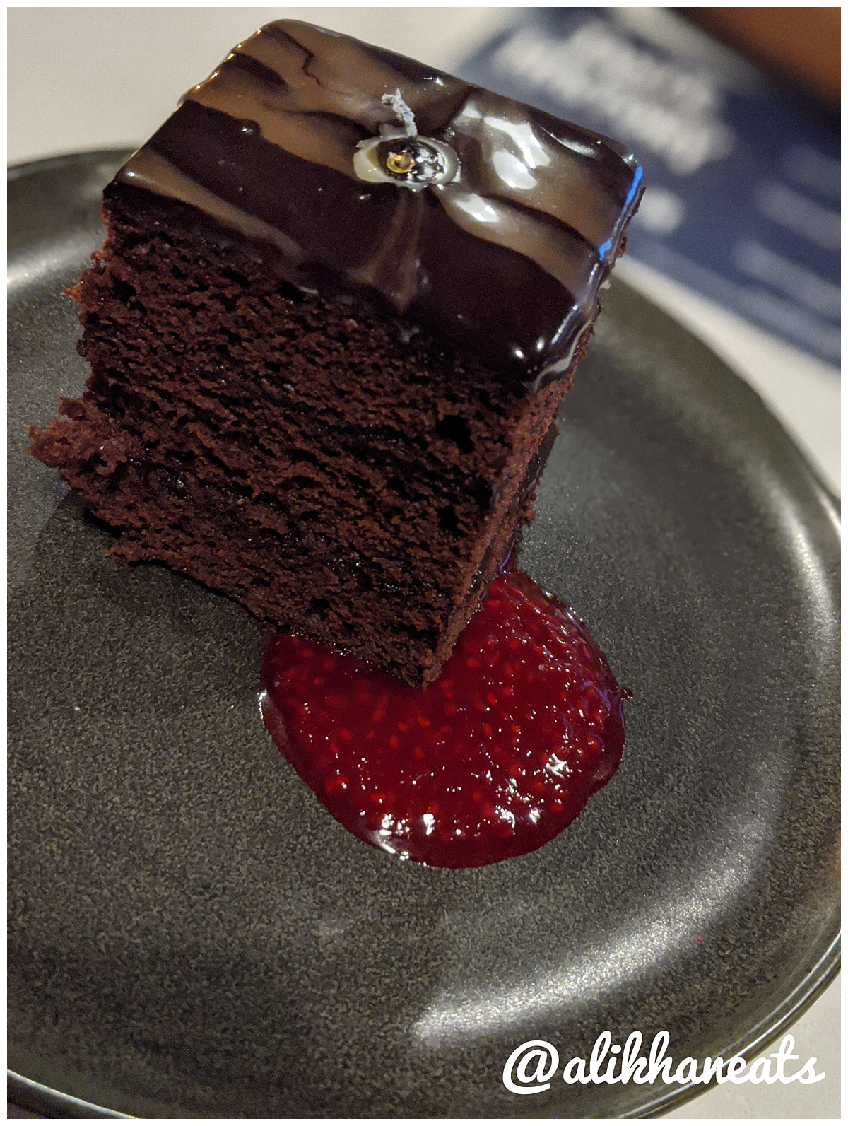 Old Forester tasting menu dessert course: chocolate black out cake