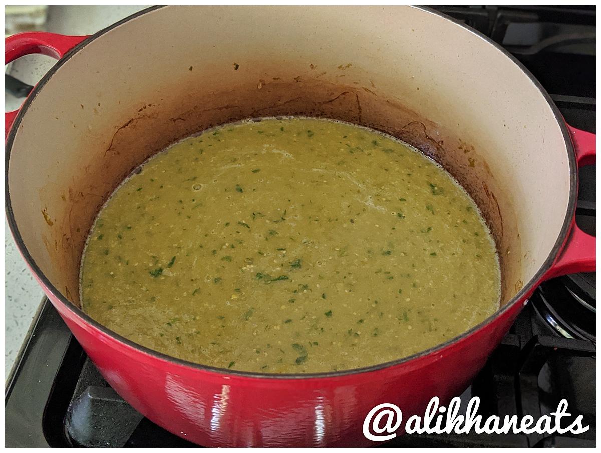 braised pork chile verde after braising