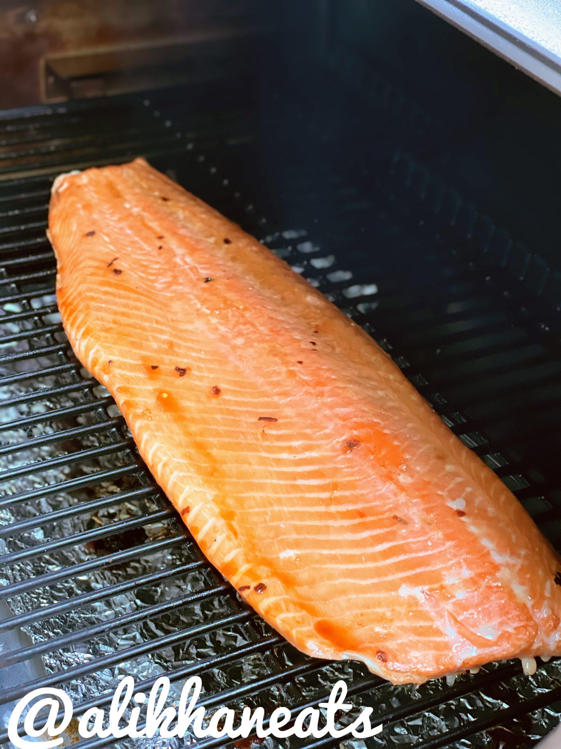 Traeger Smoked Salmon smoking stage 1