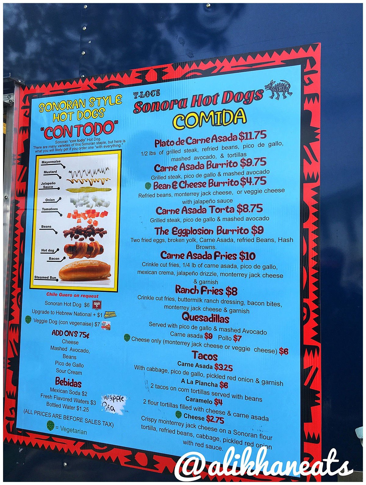 T-Loc's menu