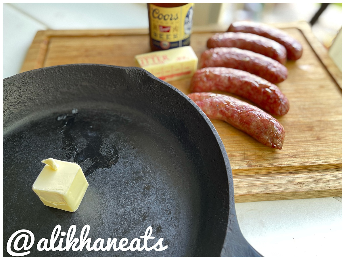 Brats ready for the simmer