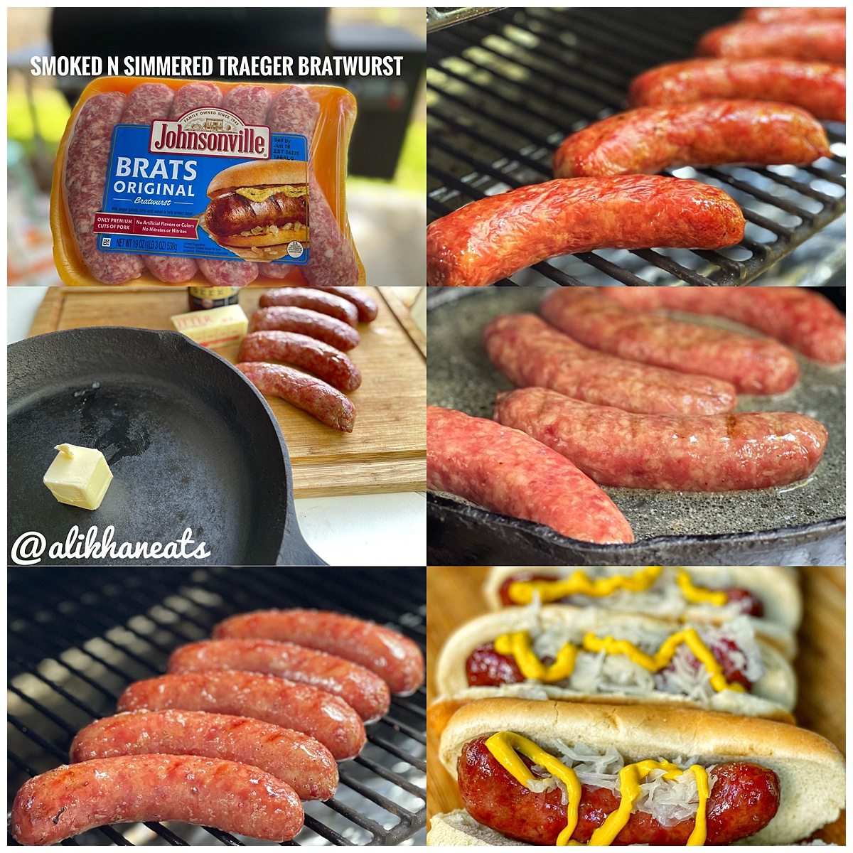 Traeger Smoked 'n Simmered Beer Brats montage