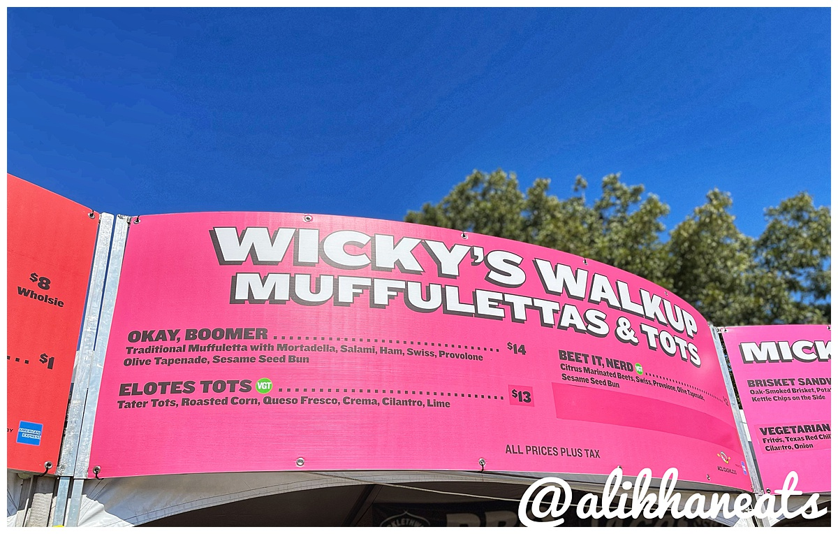 Wicky's Walkup muffelettas and tots sign